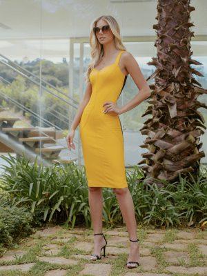 Vestido Midi Recortes Amarelo