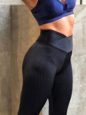 Legging Preta Magnetada Brilho E Textura